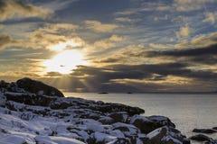 Sunset on Lofoten Islands Royalty Free Stock Photo