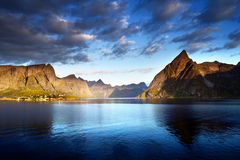 Sunset in Lofoten islands, Norway Stock Images