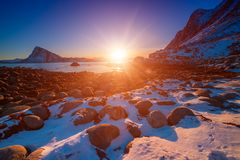 Sunset at Lofotens Stock Images