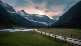 Sunset in logar valley stock photos