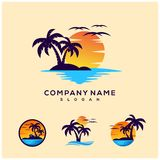 Sunset logo design for company vector illustration