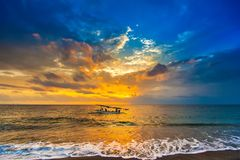Sunset on the Lombok Indonesia royalty free stock photo
