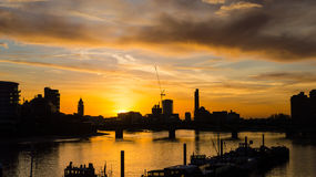 Sunset London Silhouette next to Albert Bridge Royalty Free Stock Image
