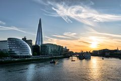 Sunset on the London Thames royalty free stock image