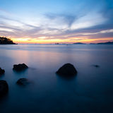 Sunset Long Exposure Ocean Rocks Royalty Free Stock Photos