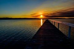 Smokey Sunset along the Wharf royalty free stock image