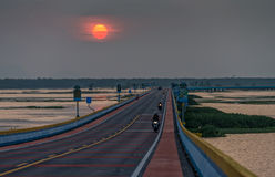 Sunset at the longest road bridge in Thailand. Royalty Free Stock Photography