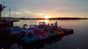 Sunset at Losari Beach Makassar Indonesia Stock Image
