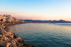 Sunset from Loutraki beach, Gulf of Corinth, Greece Stock Images