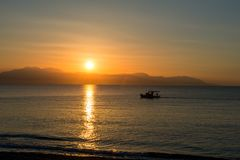 Sunset at Loutraki in Greece. Europe royalty free stock image