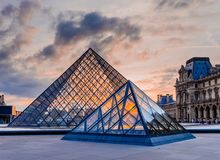 The Sunset of The Louvre Museum stock images