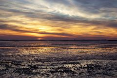 Sunset at low tide - Chatelaillon Plage - France stock photos