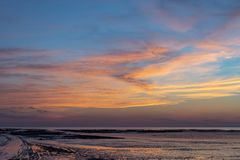 Sunset at low tide - Chatelaillon Plage - France stock photography