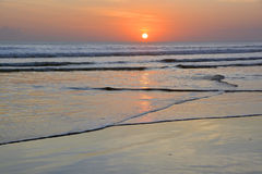 Sunset at Low Tide on Legian Beach, Bali Royalty Free Stock Photos