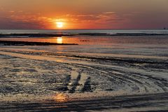Sunset at low tide - Chatelaillon Plage - France royalty free stock images