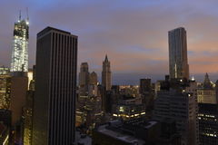 Sunset on Lower Manhattan following Power Outage. Royalty Free Stock Photos