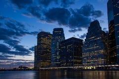 Sunset at Lower Manhattan Skyline, New York United States Stock Photo