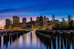 Sunset at Lower Manhattan Skyline, New York United States Stock Photos