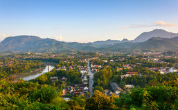 Sunset in Luang prabang. Royalty Free Stock Images
