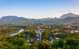 Sunset in Luang prabang. Royalty Free Stock Images