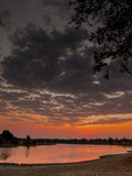 Sunset on the Luangwa River Stock Photos