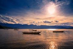 Sunset. On the Lugu lake Royalty Free Stock Photography