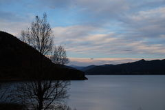 Sunset of Lugu lake royalty free stock photo