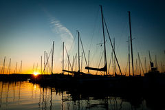 Sunset in luxlury harbour Royalty Free Stock Photos