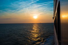 Sunset from a luxury cruise liner Stock Photos