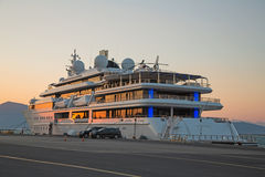 Sunset: Luxury large super or mega motor yacht in the evening. Royalty Free Stock Photos