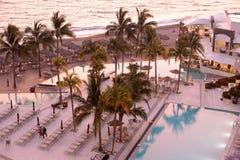 Sunset at luxury seaside resort Stock Photo