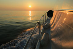 sunset and luxury yacht in the sea, Stock Photos