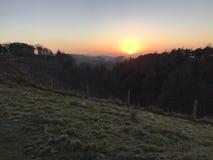 Sunset in Lyme park. Hillside sunset in Cheshire Stock Photo
