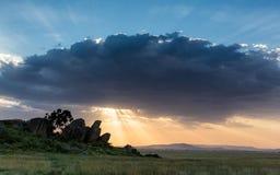 Sunset at Maasai Kopjes in the Serengeti, Tanzania Stock Photo