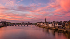 Sunset in Maastricht, The Netherlands. A beautiful sunset in Maastricht the netherlands Royalty Free Stock Photography