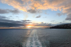 Sunset from deck of ship, Madeira Island - Portugal Stock Image