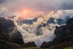 Sunset in Madeira mountains stock photos