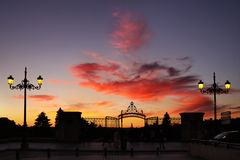 Sunset in Madrid Royalty Free Stock Photos