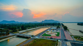 Sunset at Mae Klong Dam Royalty Free Stock Images