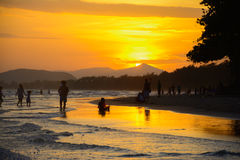 Sunset at mae pim beach rayong thailand Stock Images