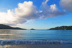 Sunset at Magens Bay beach on St Thomas Island. Royalty Free Stock Photo