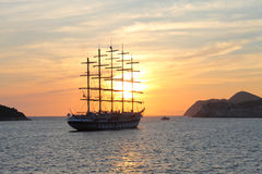 Sunset. The magnificent ship and sunset at sea Royalty Free Stock Image