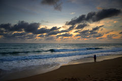Sunset of Mai Khao beach Royalty Free Stock Photography