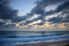 Sunset of Mai Khao beach Stock Photos