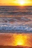 Sunset on Mai Khao beach in Phuket stock images
