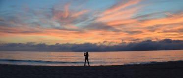Sunset on the Main Beach of Laguna Beach, California. Royalty Free Stock Photos