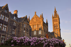Sunset in the main building of the University of Glasgow Royalty Free Stock Photo