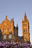 Sunset in the main building of the University of Glasgow Royalty Free Stock Images