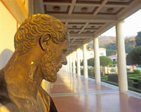 Sunset on the Main Peristyle Garden of the J. Paul Getty Museum, Los Angeles, California Royalty Free Stock Image
