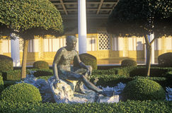 Sunset on the Main Peristyle Garden of the J. Paul Getty Museum, Malibu, Los Angeles, California Royalty Free Stock Photos